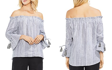 VINCE CAMUTO Striped Linen Off-the-Shoulder Top - Bloomingdale's_2