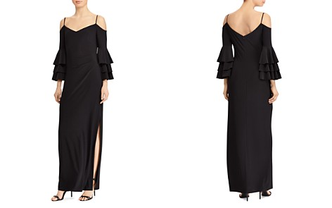 Lauren Ralph Lauren Cold-Shoulder Bell-Sleeve Gown - Bloomingdale's_2