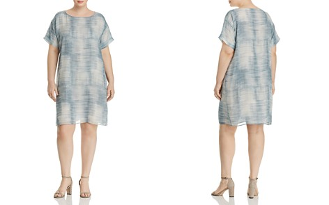 Eileen Fisher Plus Brush-Print Silk Shift Dress - Bloomingdale's_2