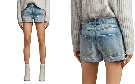 ALLSAINTS Pam Birds Embroidered Denim Shorts in Indigo Blue - Bloomingdale's_2