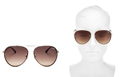 Quay Cool Innit Brow Bar Aviator Sunglasses, 56mm - Bloomingdale's_2