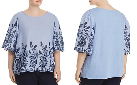 Cupio Plus Embroidered Mixed Media Blouse - Bloomingdale's_2