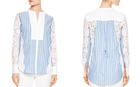 Sandro Deve Striped Lace-Inset Top - Bloomingdale's_2
