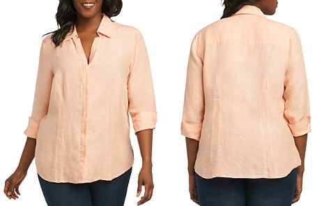 Foxcroft Plus Taylor Three-Quarter-Sleeve Shirt - Bloomingdale's_2