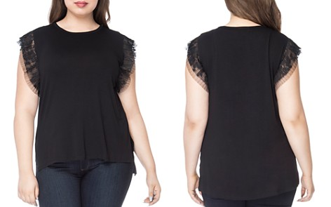 B Collection by Bobeau Curvy Alden Pleated Lace-Trimmed Top - Bloomingdale's_2