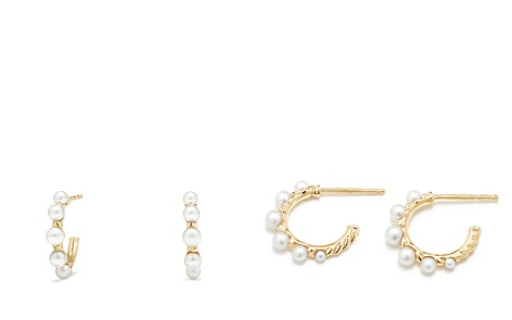 David Yurman Petite Perle Graduated Hoop Earrings with Cultured Freshwater Pearls in 18K Gold - Bloomingdale's_2
