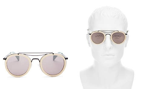 rag and bone Men's Leather Frame Round Sunglasses, 60mm - Bloomingdale's_2