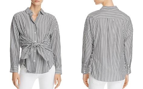 FRAME Tie-Front Striped Poplin Shirt - Bloomingdale's_2