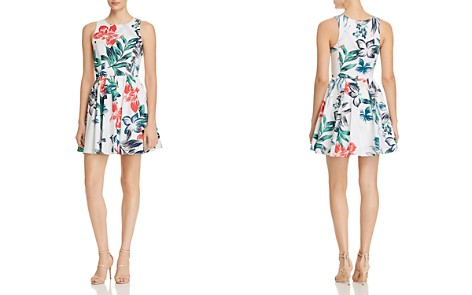 AQUA Botanical Print Fit-and-Flare Dress - 100% Exclusive - Bloomingdale's_2