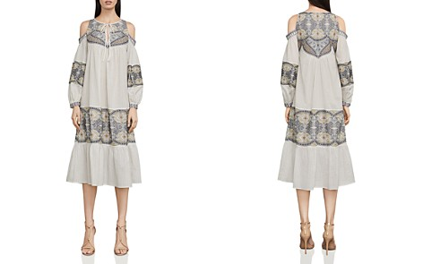 BCBGMAXAZRIA Embroidered Cold-Shoulder Dress - Bloomingdale's_2