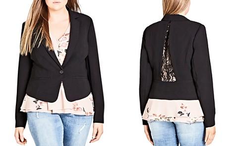 City Chic Plus Flutter Notch-Collar Jacket - Bloomingdale's_2