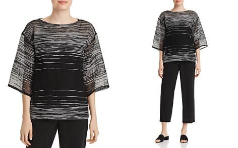 Eileen Fisher Sheer Line-Print Top - Bloomingdale's_2