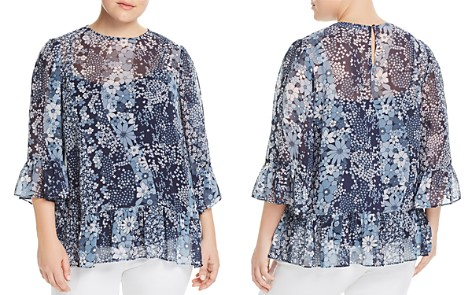 MICHAEL Michael Kors Plus Floral Patchwork Ruffle Top - Bloomingdale's_2