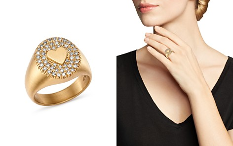 SUEL 18K Yellow Gold Diamond Heart Signet Ring - Bloomingdale's_2