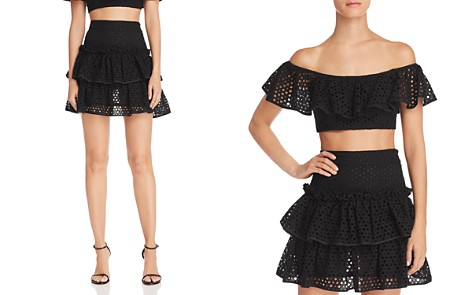 MILLY Tiered Lace Mini Skirt - Bloomingdale's_2