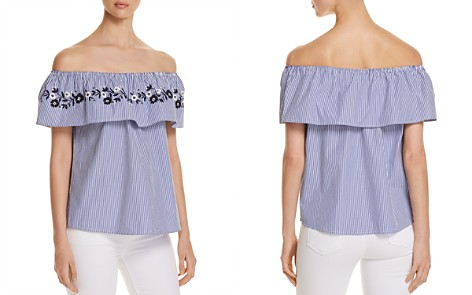 Alison Andrews Embroidered Pinstripe Off-the-Shoulder Top - Bloomingdale's_2