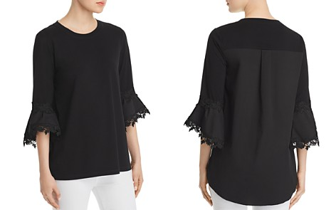 Le Gali Elise Mixed Media Bell-Sleeve Blouse - 100% Exclusive - Bloomingdale's_2