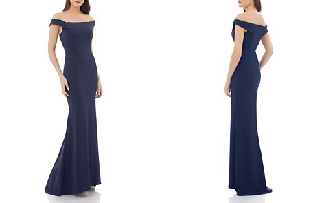 Carmen Marc Valvo Infusion Off-the-Shoulder Crepe Gown - Bloomingdale's_2