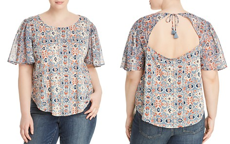 Lucky Brand Plus Mosaic-Print Keyhole Top - Bloomingdale's_2