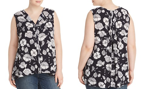 B Collection by Bobeau Curvy Lily Floral-Print Pleat-Back Top - Bloomingdale's_2