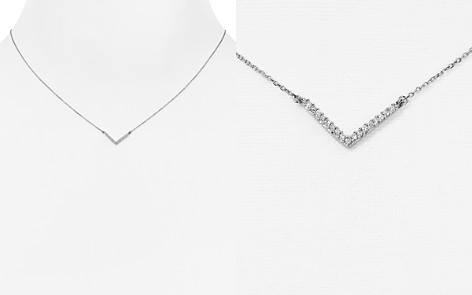 "Adina Reyter 14K White Gold Pavé Diamond Tiny V Pendant Necklace, 15"" - Bloomingdale's_2"