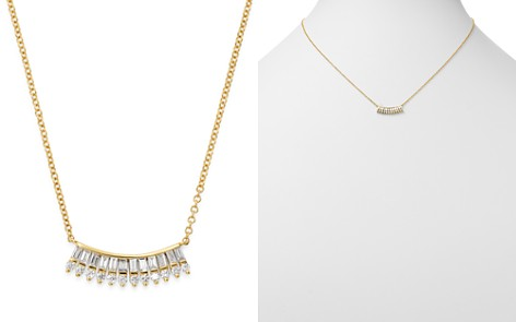 "KC Designs 14K Yellow Gold Mosaic Baguette & Round Diamond Fan Necklace, 16"" - Bloomingdale's_2"