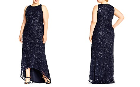 Adrianna Papell Plus Sequined High/Low Gown - Bloomingdale's_2