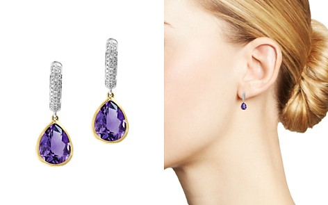 Bloomingdale's Amethyst & Diamond Drop Earrings in 14K Yellow & White Gold - 100% Exclusive _2