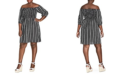 City Chic Plus Stripe Play Off-the-Shoulder Dress - Bloomingdale's_2