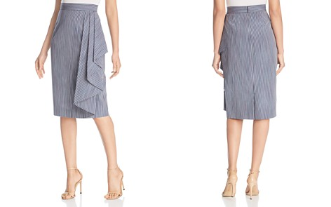 Badgley Mischka Striped Side Drape Pencil Skirt - Bloomingdale's_2