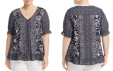 Lucky Brand Plus Mixed-Print Ruffle Top - Bloomingdale's_2
