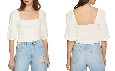 1.STATE Blouson Sleeve Cropped Top - Bloomingdale's_2