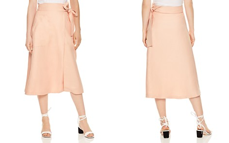 Sandro Nord Belted Crossover Midi Skirt - Bloomingdale's_2