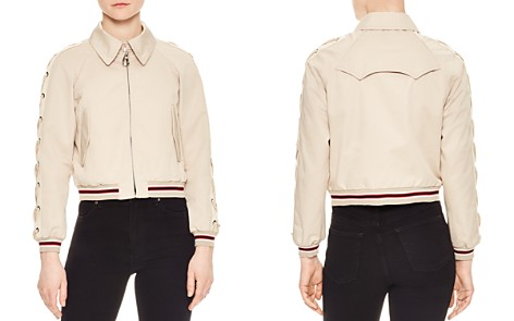 Sandro Lot Lace-Up Sleeve Bomber Jacket - Bloomingdale's_2