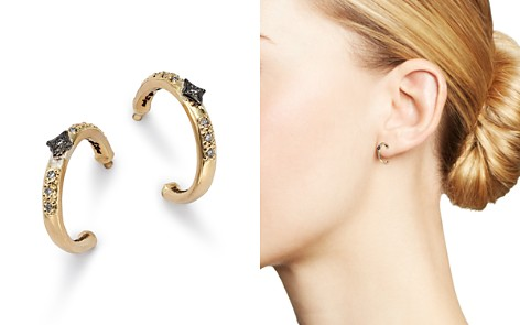 Armenta Blackened Sterling Silver & 18K Yellow Gold Old World Crivelli Champagne Diamond Hoop Earrings - Bloomingdale's_2