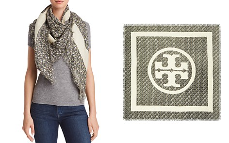 Tory Burch Wild Pansy Logo Square Scarf - Bloomingdale's_2
