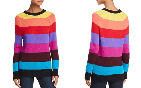 AQUA Cashmere Rainbow-Stripe Cashmere Sweater - 100% Exclusive - Bloomingdale's_2