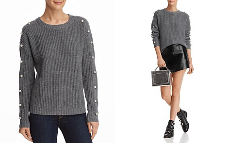 AQUA Cashmere Embellished Shaker Stitch Cashmere Sweater - 100% Exclusive - Bloomingdale's_2