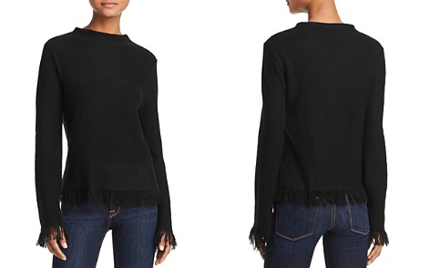 AQUA Cashmere Fringed Cashmere Sweater - 100% Exclusive - Bloomingdale's_2