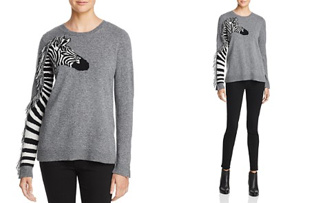 AQUA Cashmere Zebra Fringed Cashmere Sweater - 100% Exclusive - Bloomingdale's_2
