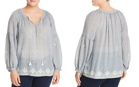 VINCE CAMUTO Plus Embroidered Gauze Peasant Top - Bloomingdale's_2