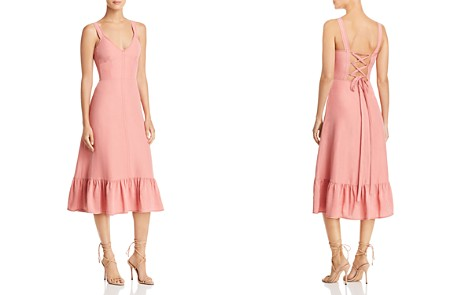 Rebecca Taylor Lace-Up Midi Dress - Bloomingdale's_2
