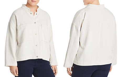 Eileen Fisher Plus Textured Stand-Collar Jacket - Bloomingdale's_2