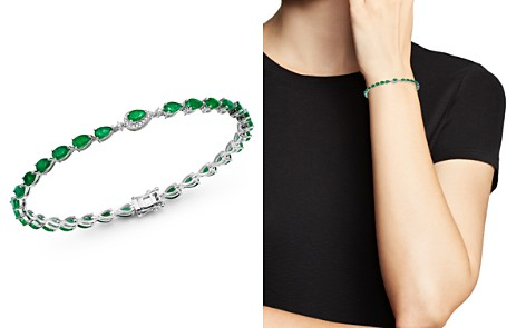 Bloomingdale's Emerald & Diamond Bracelet in 14K White Gold - 100% Exclusive_2