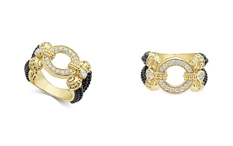LAGOS Circle Game Black Caviar Ceramic Split Ring with Diamonds and 18K Gold - Bloomingdale's_2
