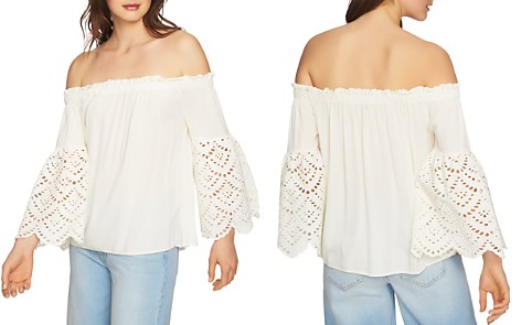 1.STATE Eyelet Sleeve Off-the-Shoulder Blouse - Bloomingdale's_2