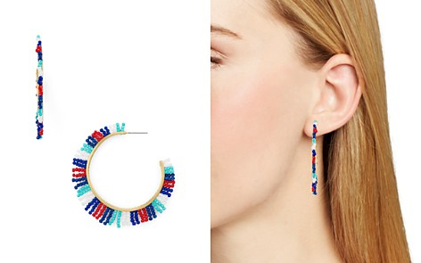 Rebecca Minkoff Beaded Fringe Hoop Earrings - Bloomingdale's_2