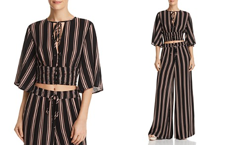 Re:Named Quinn Striped Button-Front Crop Top - Bloomingdale's_2