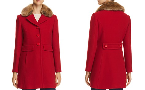 kate spade new york Twill Faux Fur Trim Coat - 100% Exclusive - Bloomingdale's_2
