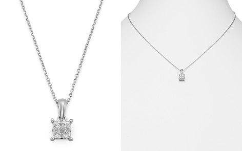 Bloomingdale's Princess-Cut Diamond Pendant Necklace in 14K White Gold, 0.50 ct. t.w. - 100% Exclusive_2